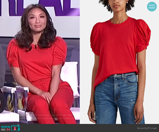 Kati Puff-Sleeve Tee by A.L.C. worn by Jeannie Mai  on The Real