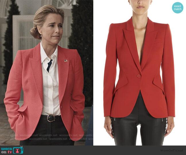Single Breasted Blazer by Alexander McQueen worn by Elizabeth McCord (Téa Leoni) on Madam Secretary