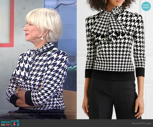 Dogtooth Jacquard Knit Top by Alexander McQueen worn by Helen Mirren on Today Show
