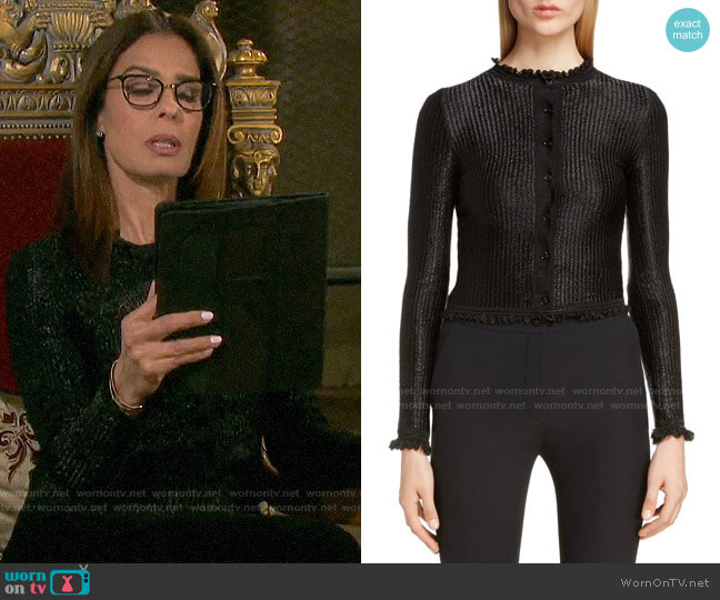 Alexander McQueen Ruffle Trim Ribbed Cardigan worn by Hope Williams (Kristian Alfonso) on Days of our Lives