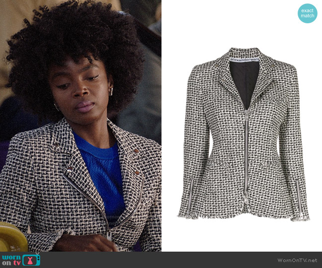 Alexander Wang Tweed Moto Zip Jacket worn by Briana Johnson (MaameYaa Boafo) on Bluff City Law