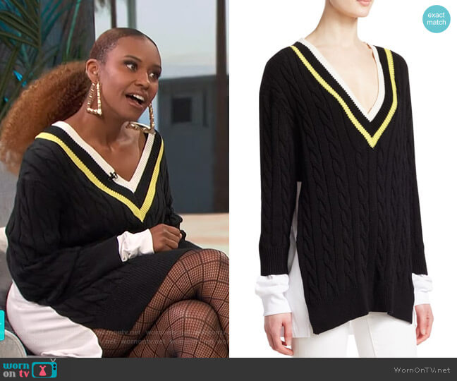 Layered Varsity Cable-Knit Sweater by alexanderwang.t worn by Ryan Michelle Bathe on Access Hollywood