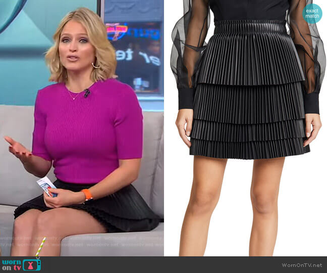 Briana Vegan Leather Skirt by Alexis worn by Sara Haines  on Good Morning America