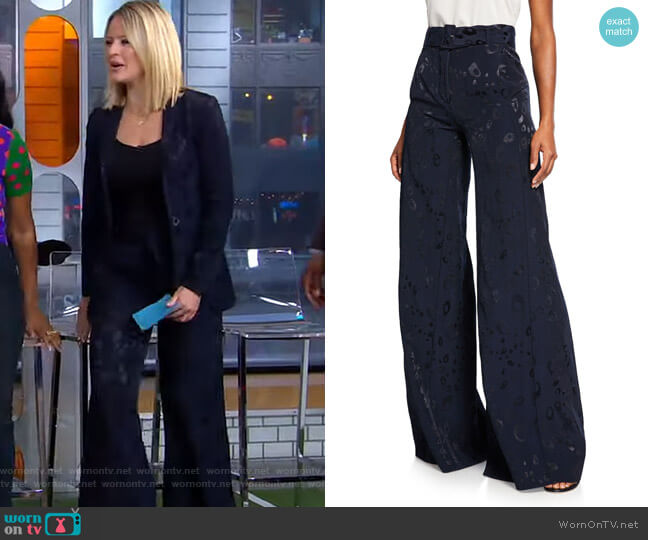 Donira Bengal High-Waist Pants by Alexis worn by Sara Haines  on Good Morning America
