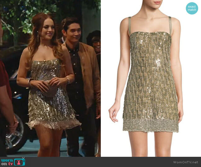 Izabell Sequined Mini Dress by Alexis worn by Fallon Carrington (Elizabeth Gillies) on Dynasty