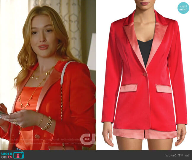 Nevra Satin-Trim Blazer by Alexis worn by Kirby Anders (Maddison Brown) on Dynasty