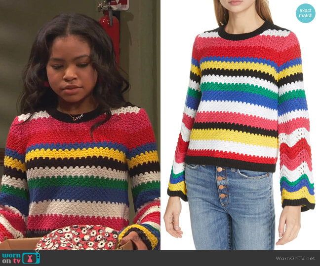 Alivia Bell Sleeve Sweater by Alice + Olivia worn by Nia Baxter (Navia Robinson) on Ravens Home