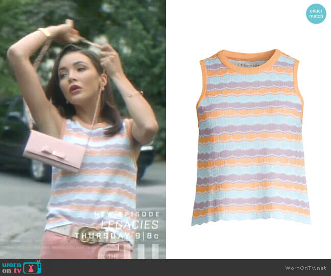 Antonella Stripe Knit Tank by Alice + Olivia worn by Bess (Maddison Jaizani) on Nancy Drew