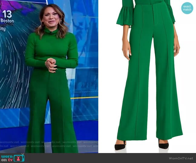 Dylan Wide-Leg Pants by Alice + Olivia worn by Ginger Zee  on Good Morning America