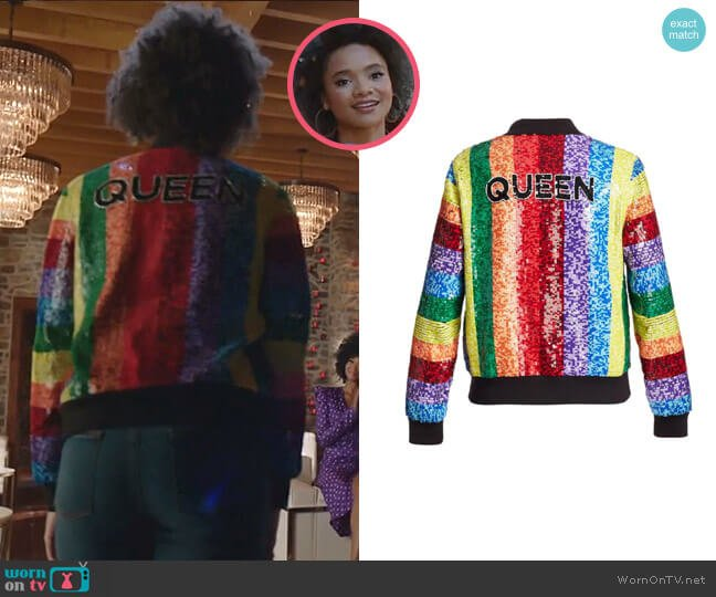 Queen Sequin Rainbow Bomber Jacket by Alice + Olivia worn by Jade Payton on Dynasty worn by Vanessa (Jade Payton) on Dynasty