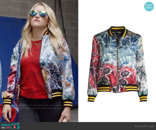 Alice + Olivia Lonnie Bomber Jacket worn by Roxy Doyle (Emily Osment) on Almost Family