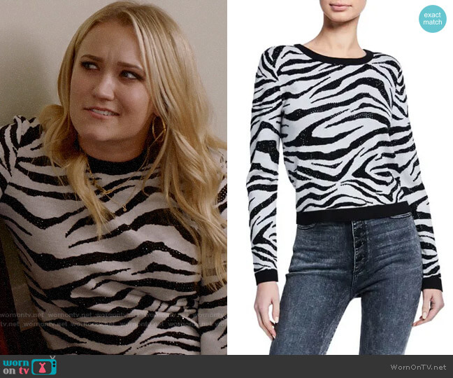 Alice + Olivia Connie Embellished Zebra Sweater worn by Roxy Doyle (Emily Osment) on Almost Family
