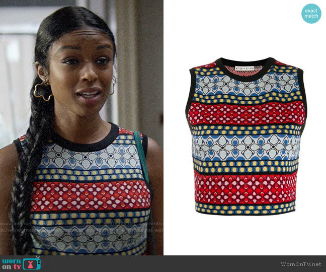 Alice + Olivia Cropped Knitted Top worn by Ali Finer (Javicia Leslie) on God Friended Me