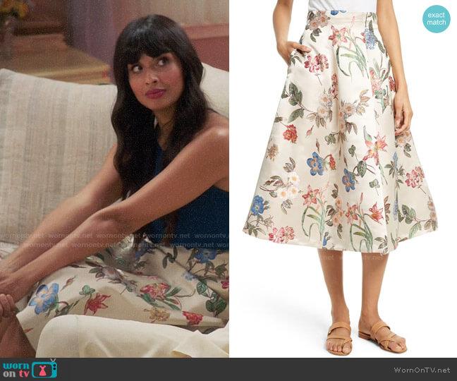 Alice + Olivia Fila Floral Skirt worn by Tahani Al-Jamil (Jameela Jamil) on The Good Place