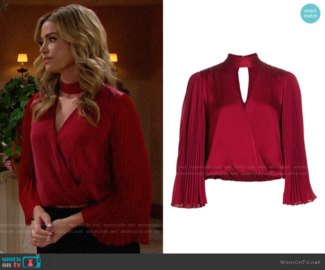 Alice + Olivia Luba Top in Bordeaux worn by Shauna Fulton (Denise Richards) on The Bold & the Beautiful