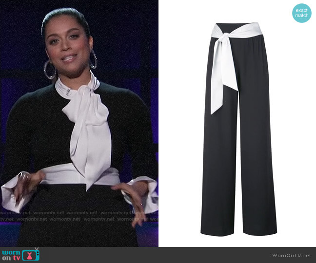 Alice + Olivia Merena Tie Trousers worn by Lilly Singh  on A Little Late with Lilly Singh