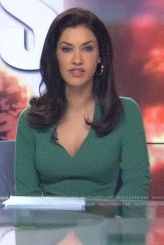 Alison's green v-neck dress on The Morning Show