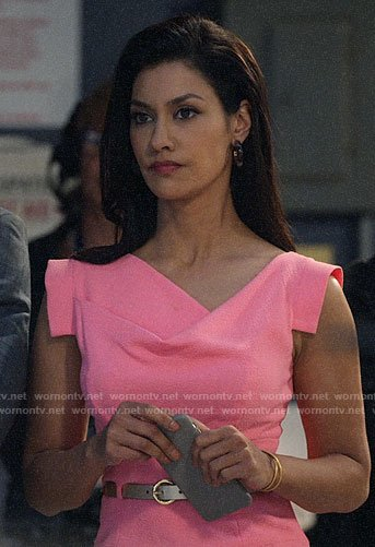 Alison's pink draped neck sheath dress on The Morning Show
