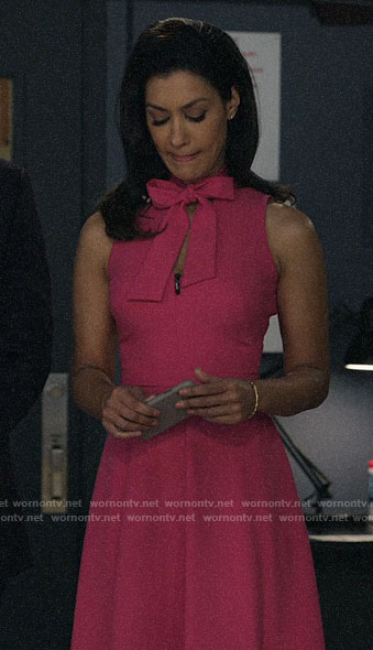 Alison's pink tie neck dress on The Morning Show