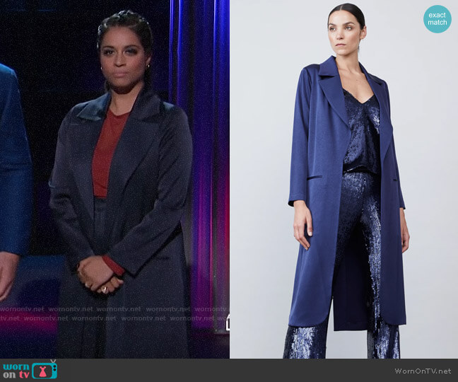Allen Schwartz Carmen Satin Jacket worn by Lilly Singh  on A Little Late with Lilly Singh