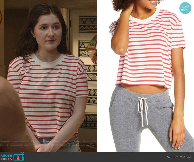 Headliner Stripe Crop Eco Jersey Tee by Alternative worn by Debbie Gallagher (Emma Kenney) on Shameless