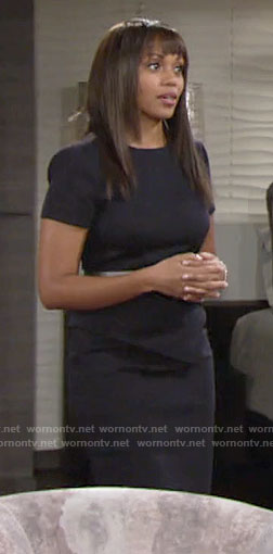 Amanda's navy short sleeved peplum dress on The Young and the Restless