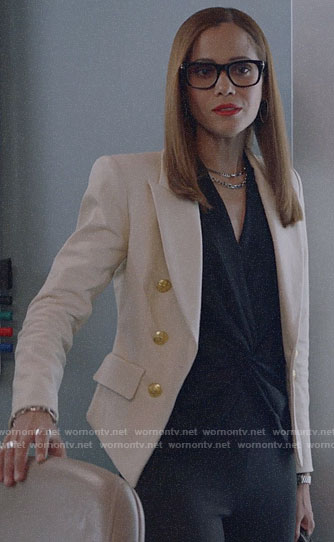 Amanda's white blazer with gold buttons and black twist front blouse on Almost Family