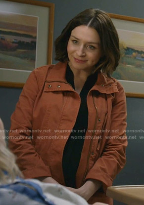 Amelia's orange utility jacket on Greys Anatomy