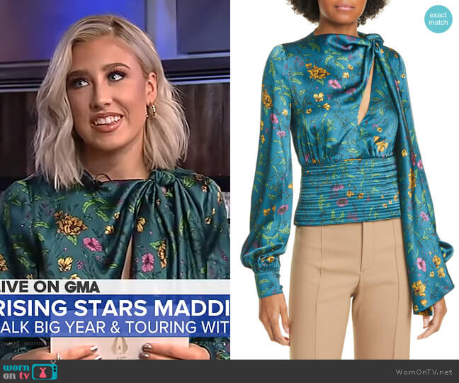 Ray Tie Neck Floral Print Silk Top by Amur worn by Maddie Marlow on GMA