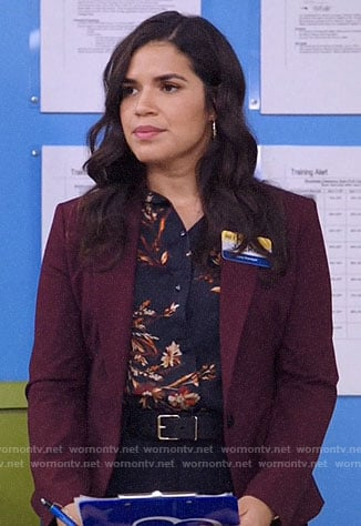 Amy's black floral button down blouse on Superstore
