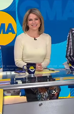 Amy's black printed pants on Good Morning America
