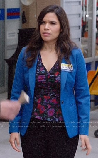 Amy's floral v-neck top on Superstore