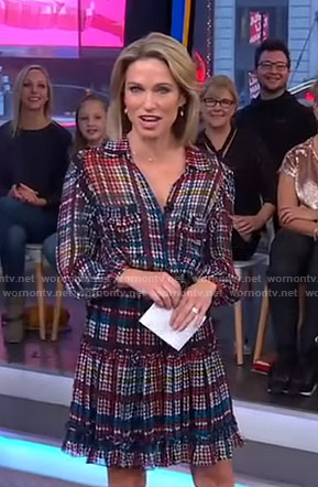 Amy's multicolored printed dress on Good Morning America