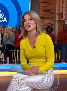 Amy's yellow v-neck sweater and striped pants on Good Morning America