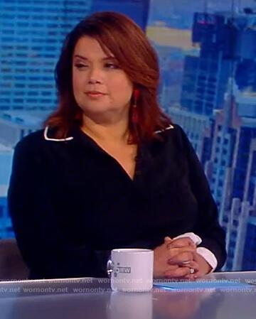 Ana's black contrast tie waist dress on The View
