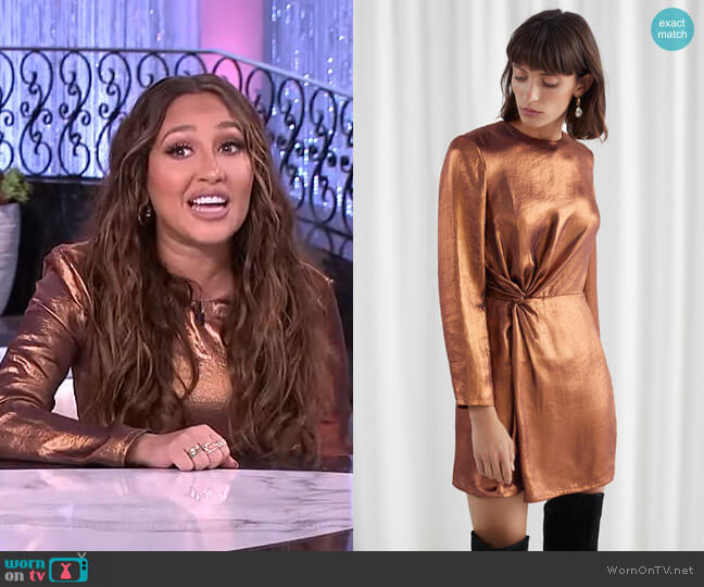 Metallic Satin Side Knot Mini Dress by & Other Stories worn by Adrienne Houghton  on The Real
