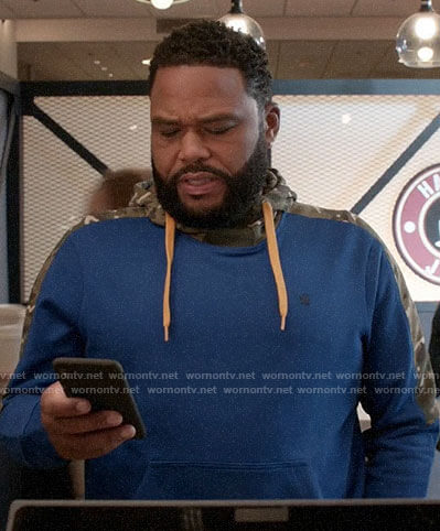 Andre's blue hoodie with camo panels on Black-ish