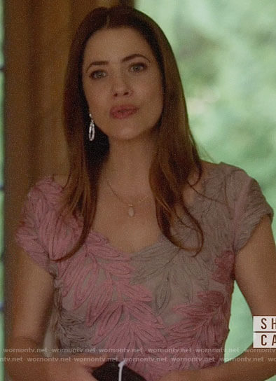 Andrea's pink leaf embroidered dress on Supergirl