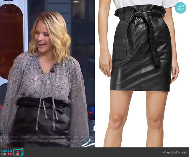 Laurie Paperbag Waist Leather Miniskirt by Anine Bing worn by Sara Haines  on Good Morning America