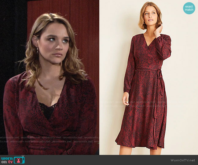 Ann Taylor Snake Print Wrap Dress worn by Summer Newman (Hunter King) on The Young & the Restless