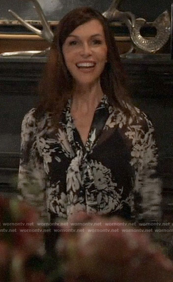 Anna's black and white floral tie-neck blouse on General Hospital
