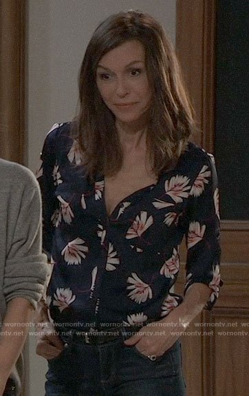 Anna's navy floral button down blouse on General Hospital