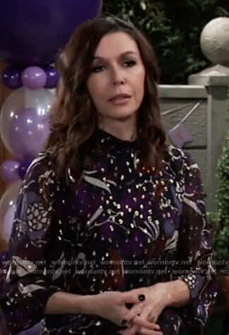 Anna's floral metallic blouse on General Hospital