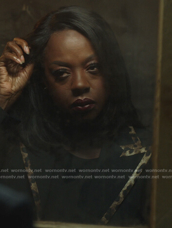 Annalise's black leopard trim blazer on How to Get Away with Murder
