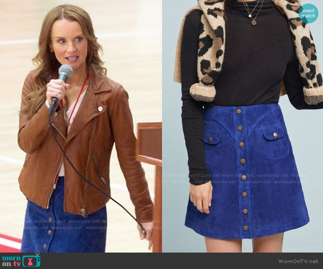 Anthropologie Button-Front Mini Skirt worn by Miss Jenn (Kate Reinders) on High School Musical The Musical The Series