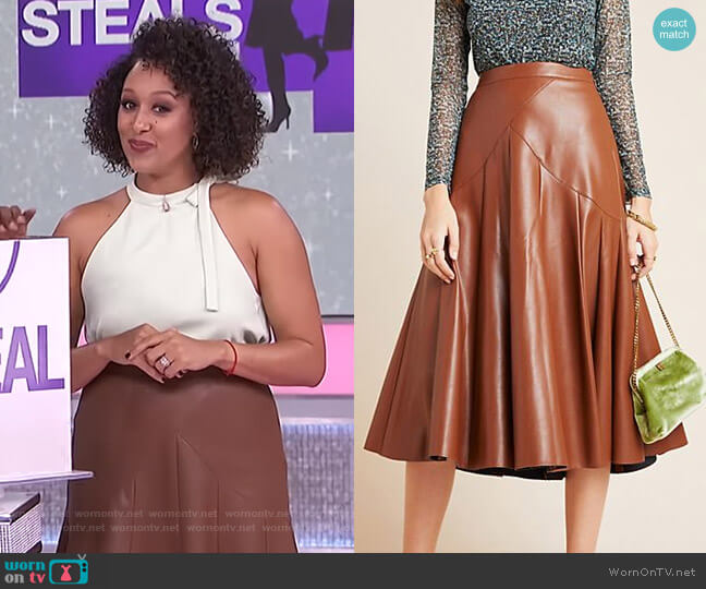 Mariska Faux Leather Midi Skirt by Maeve worn by Tamera Mowry  on The Real
