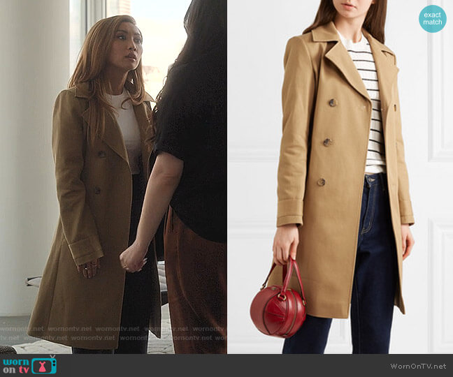 Alexis Cotton-Drill Trench Coat by A.P.C. worn by Madison Maxwell (Brenda Song) on Dollface