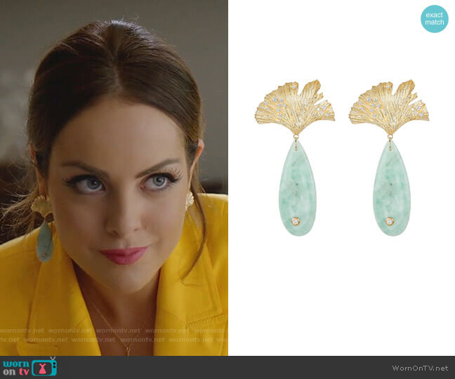 Onyx Leaf Earrings by Apples & Figs  worn by Fallon Carrington (Elizabeth Gillies) on Dynasty
