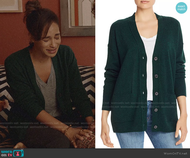 Aqua Boyfriend Cashmere Cardigan in Forest Nep worn by Edie Palmer (Megalyn Echikunwoke) on Almost Family