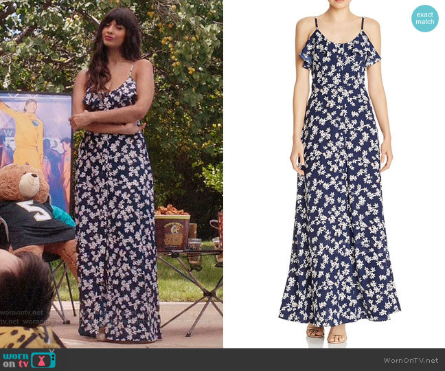 Aqua Button-Front Floral Maxi Dress worn by Tahani Al-Jamil (Jameela Jamil) on The Good Place